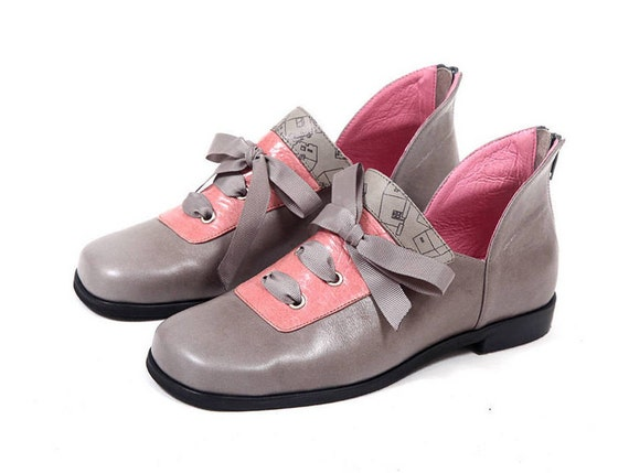 44f86078db4c8 Shoes and for Shoes Gray Woman's Vintage Shoes Gray Oxfords pink ...