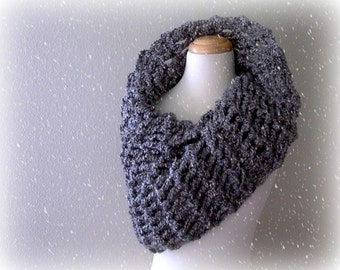 arctic circle. chunky knit gray cowl . handknit grey neck warmer snood . oversized warm winter cowl