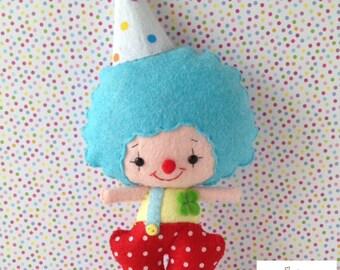 Happy Clown Felt Doll
