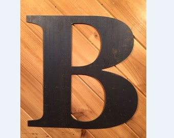 "Large 24"" Raw or Painted Metal Letter B Rustic Metal Sign - Large Metal Letter - Metal Wall Art - Farmhouse sign - Farmhouse Decor"