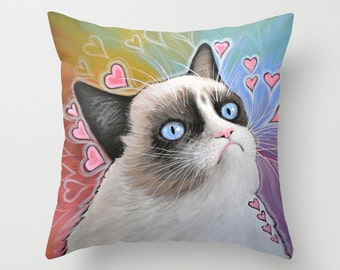 """Decorative throw pillows cover ... from my original painting, """"Grumpy Cat...This Is My Happy Face""""...16"""" x 16""""...Tardar Sauce, ready 2 ship"""