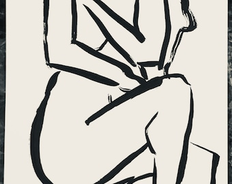 Nude female ink line drawing on paper 9x12 inches