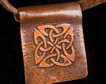 Heat treated copper pendant with etched celtic design
