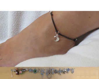 Shakespeare cord anklet with the charm of your choice.