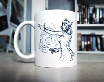 Cup (mug) illustrated with a sketch of witch Minotaur/tauren