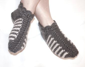Ready to ship - gray striped knitted slippers, knitted slippers, women's slippers, home socks, knitted socks, slippers, Mother's Day, Women