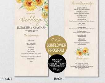 Sunflower Wedding Program Printable, Wedding Program Template - Watercolor Wedding Program-DIY Editable PDF-DOWNLOAD Instantly | VRD151PL