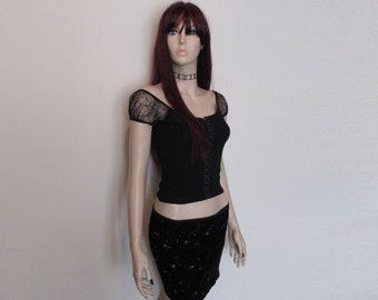 90s Vtg Black Spiderweb Cobweb Gypsy Goth Corset Basque Punk Eyelet Crop Size Small