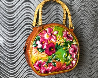Hawaiian Glitter Tiki Handbag • Sparkle Vinyl Bag • Metal Flake Purse • Hawaii Floral • Mini Cruiser • Made in USA • Double K