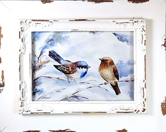 Framed Print - Robins In Snow