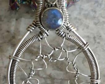 Dream Catcher Labradorite Pendant Necklace