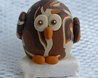 Owl on stone marbled ornament or decoration handmade with polymer clay
