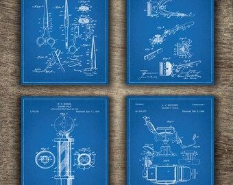 Barber Shop Blueprint, Barber Shop Printable, Barber Poster, Barber Patent, Barber Pole, Barber Set of 4 Prints - INSTANT DOWNLOAD -