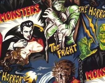 Gothic fabric, Halloween fabric, horror movies, Pleasures & Pastimes fabric, vampire fabric, Dracula fabric, Frankenstein fabric, retro