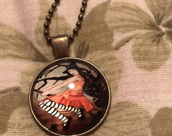 Antique Finished Broomstick Witch Pendant Necklace, Halloween Jewelry