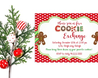 Cookie Exchange Invitation,  Cookie Party Invitation,   Cookies Exchange Party,  Cookie Exchange Invite,  Christmas Party,  Hot Cocoa