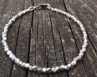 Silver Bracelet, Silver Beaded Bracelet, Fine Silver Bracelet, Boho Bracelet, Beaded Bracelet, Karen Hill Tribe, Womens Bracelet, Mimialist