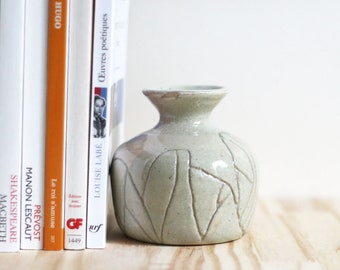 Small etched vase - ceramic - homemade