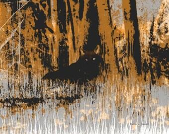 Black Wolf Art, Abstract Wolves, Southwestern Native American Totem Animal, Black Burnt Orange, Home Decor, Wall Hanging,8 x 10 Giclee Print
