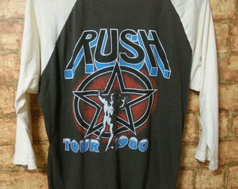 RARE Vintage 80's RUSH Concert Tour Raglan Jersey Rock N Roll T-Shirt Band Rush Tour 1980