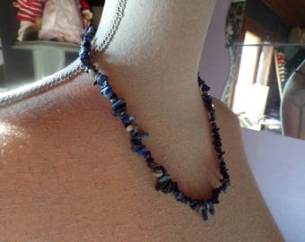 Lapis lazuli chips beaded necklace