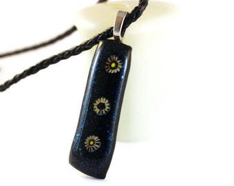 Fused Glass Pendant, Necklace, Glass Jewelry, Dichroic Glass, Ethnic Fashion, Boho, Flower Power Glass Pendant, Nature Lover, Free Spirit