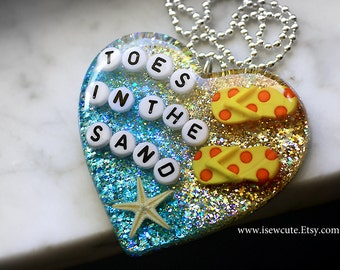 Tropical Beach Necklace, Summer Jewelry, Beach Wedding, Toes in the Sand, Starfish Necklace, Glitter Heart Pendant, Cute Beach Wear for Her