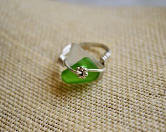 Green Sea Glass Ring, Beach Lovers Birthday Ring for Mom, Wife, Chic Ecofriendly Ring for Her, Fashionable Hawaiian Inspired Jewelry