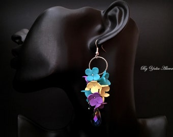 Flower earrings, Multicolored Earrings, handmade earrings, summer earrings, summer jewelry, polymer clay earrings, Polymer Clay Flowers