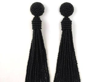 Oscar de la Renta earrings, beaded long tassel stud/clip earrings,Oscar earrings,sterling silver stud earrings,black drop earrings