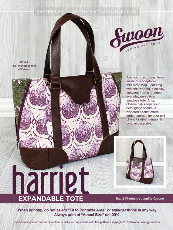 Swoon Patterns: Harriet Expandable Tote PDF Vintage Purse