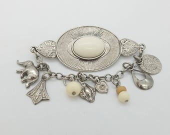 Vintage Silver Tone Brooch With Dangling Charms