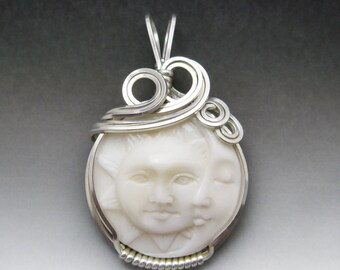Sun & Moon Face Carved Bone (bovine) Cameo Sterling Silver Wire Wrapped Pendant - Made to Order, Ships Fast!