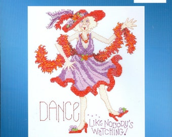 "2004 Red Hat Dance ... Like Nobody's Watching! NIP DIY Stamped Cross Stitch Kit 12"" x 15"" - Janynn Kit 023-0246"
