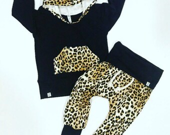 Baby girl outfit / baby girl clothes / black and gold / cheetah print / coming home outfit / newborn baby girl / toddler girl clothes / baby