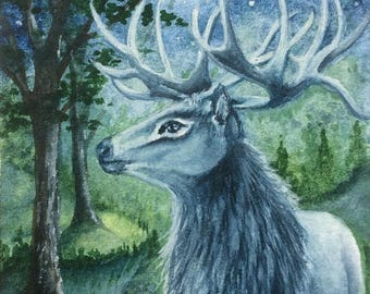 "ACEO Print Stag ""The Forest King"""