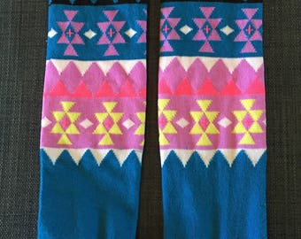 Blue and Purple Pattern Leg Warmers