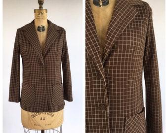 1970's Grid Print Knit Blazer