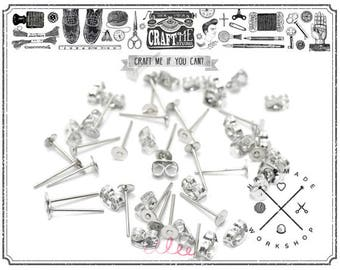10pairs 925 Sterling Silver Earring Posts with Flat Back, Flat Pad Earring Posts, Earstuds with Stoppers