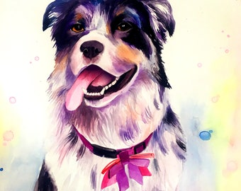 Custom  Watercolor  Dog portrait Custom Watercolor  Dog Painting Custom Watercolor Pet portrait Watercolor dog Pet portrait Watercolor Pet