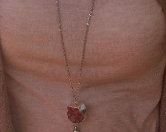 Pink Crystal & Tassel Necklace