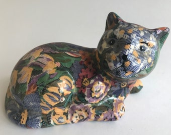 Decoupage CAT hand crafted hand made floral pattern blue yellow figurine 7""