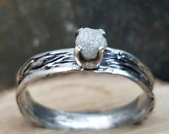 Raw diamond ring rough diamond ring uncut diamond ring engagement ring wedding ring conflict free diamond ring unique wedding engagement