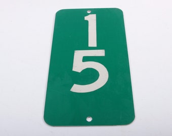 """Vintage Mile Marker Road Sign #15 Lucky Number 12"""" Sign - Metal - Wall Hanging ~ The Pink Room ~ 170109"""