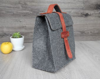 Waterproof Lunch Bag- Felt Lunch Tote -  Felt & Leather Bag - Gift for Him/Her - Felt Lunch Bag - Free Personalization