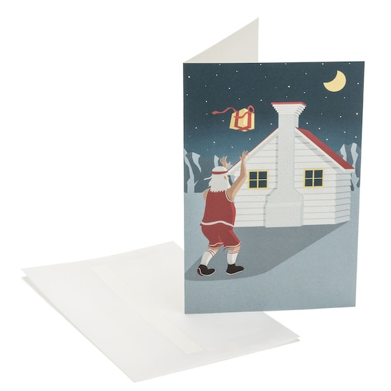 HOOPSTER SANTA. Funny Christmas card. Basketball playing Santa. Funny holiday wishes for friends, boyfriend, basketball coach.