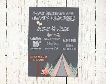 Happy Campers Invitation-Camping Invitation-Camping Bridal Invitation- Couples Shower Invitation-Bridal Shower Invitation