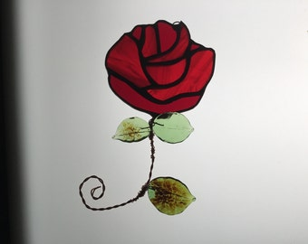 SALE Rose Suncatcher in Stained Glass
