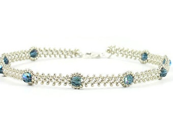 Blue Crystal Anklet - Beaded Silver Anklet - Daisy Chain Ankle Bracelet - Beadwork Jewelry - Summer Anklet - Beach Jewelry