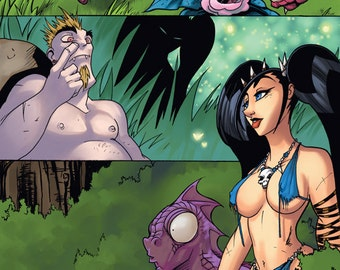 Vegan Cave Girl Digital Issue 1 Comic Book full colour scifi action and humour
